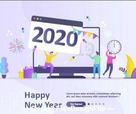 Happy people welcome 2020 new year cartoon illustration vector