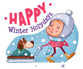 Happy winter holydays illustration vector