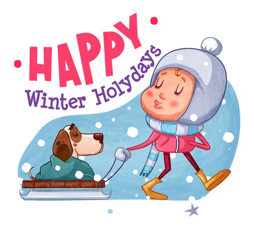 Happy winter holydays illustration vector