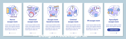 Horror escape room collection cartoon illustration vector