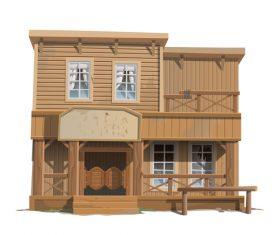 Hotel wooden building vector