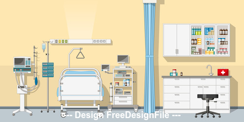 Illustration an Intensive care unit vector