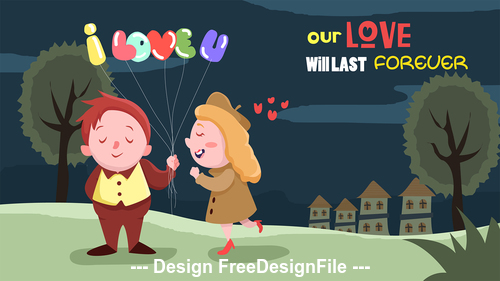 Illustration happy loving with balloons vector