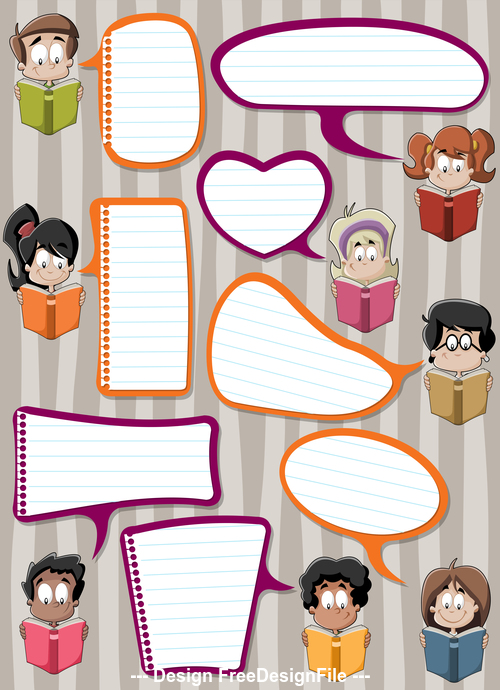 Illustration reading books students and color dialogs vector 04