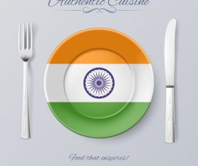 Indian authentic cuisine and flag circ icon vector