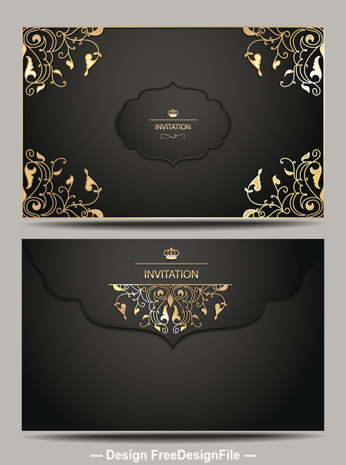 Invitation black and gold envelope vector