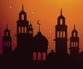 Islamic Mosque Silhouette With Sunset Sky Poster Background silhouette vector