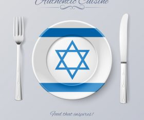 Israel authentic cuisine and flag circ icon vector