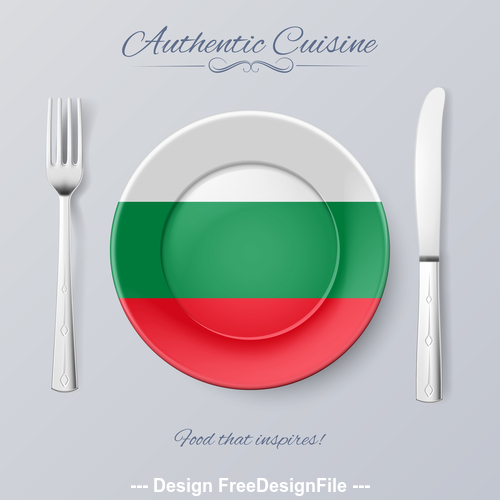 Italy authentic cuisine and flag circ icon vector