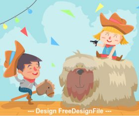 Kids outdoor play cartoon illustration vector