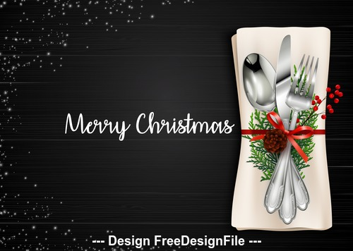 Knife and fork christmas element card background vector