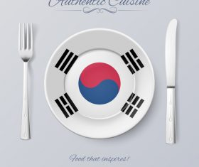 Korea authentic cuisine and flag circ icon vector