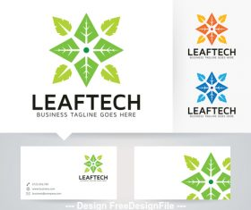 Leaf technology logo vector