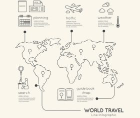 Line travel infograp vector