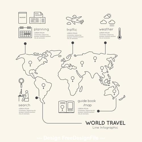 Line travel infograp vector