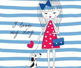 Little girl and pet dog vector