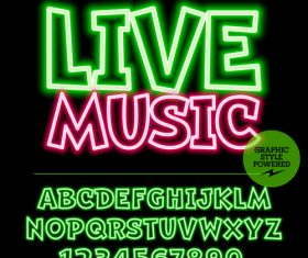 Live music color alphabet vector