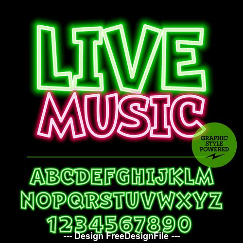 Live music color alphabet vector