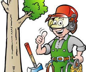 Logging worker cartoon vector
