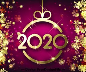 Luxury 2020 new year greeting card vector
