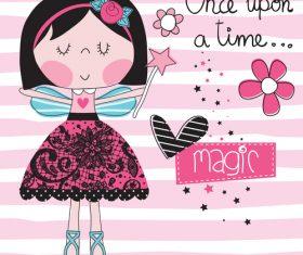 Magic girl cartoon vector