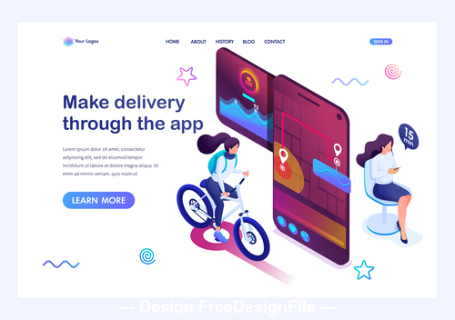 Make delivery through the app concept illustration vector