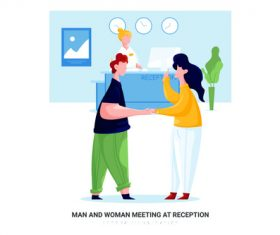 Man and woman meeting at reception cartoon illustration vector