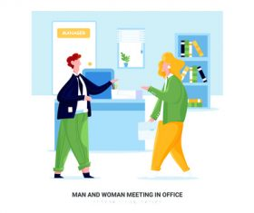 Man and woman meeting in office cartoon illustration vector
