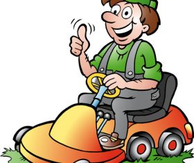 Man driving a battery car cartoon vector