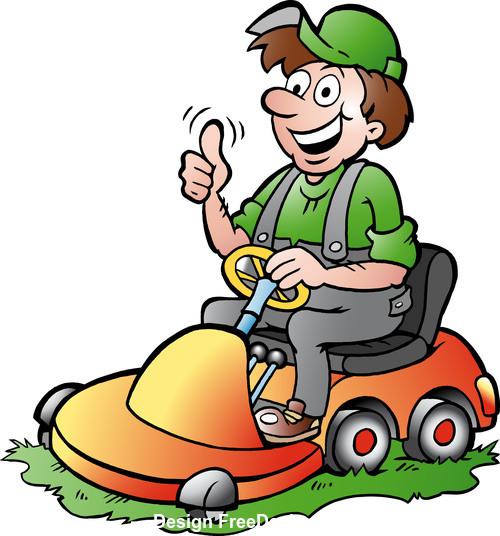Man driving a battery car cartoon vector