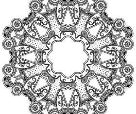Mandala black silhouette vector