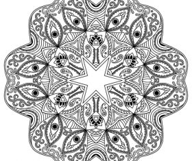 Mandala flower and eye tattoo pattern vector