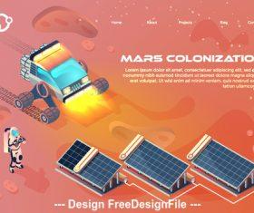 Mars colonization concept illustration vector