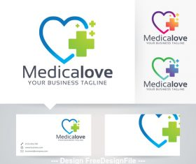 Medical love logo vector