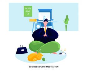Meditation cartoon illustration vector