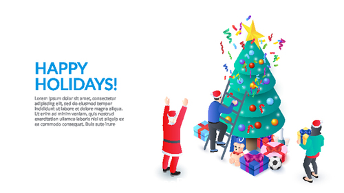 Merry Christmas 3D concept illustration vector