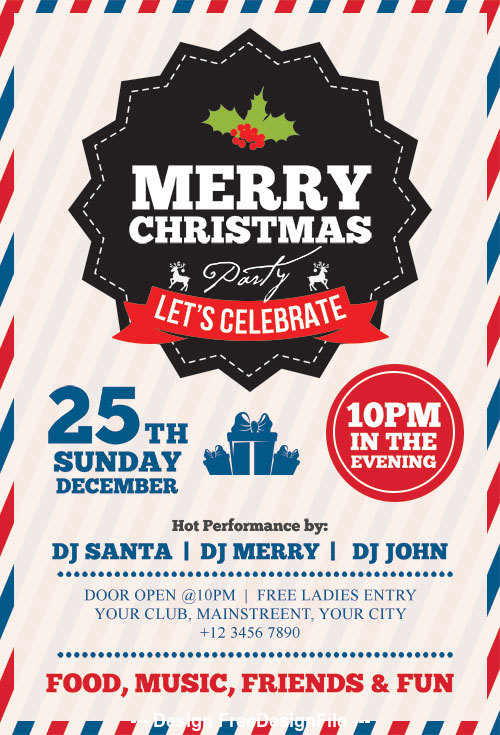 Merry Christmas Party PSD Flyer Template