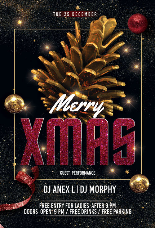 Merry Xmas Music Night Psd Flyer Template