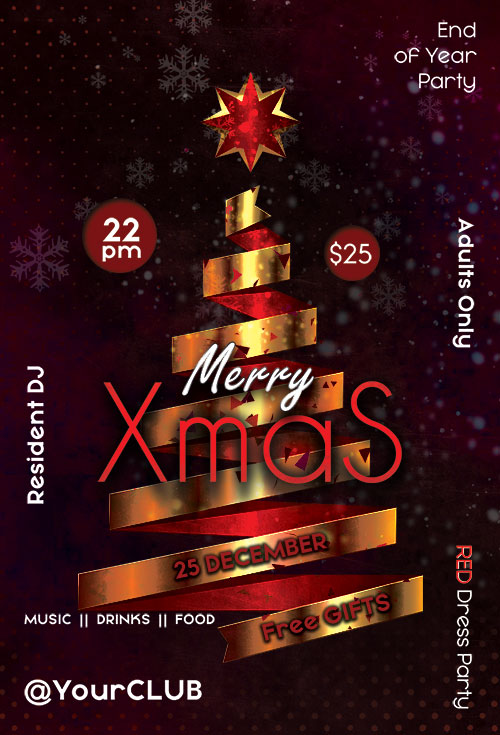Neon lights xmas party poster template. Christmas decoration.