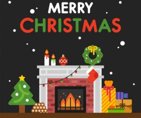 Merry christmas cartoon element card vector