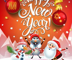 Merry christmas cartoon greeting card vector