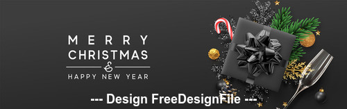 Merry christmas gift box banner vector