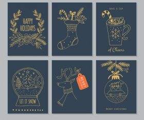 Merry christmas hand drawing tag vector