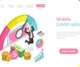 Mobile credit rating concept illustration vector
