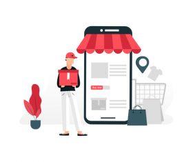 Mobile phone shopping illustration vector