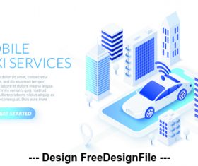 Mobile taxi services concept illustration vector