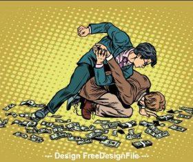 Money crime comic vector