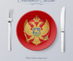 Montenegro authentic cuisine and flag circ icon vector