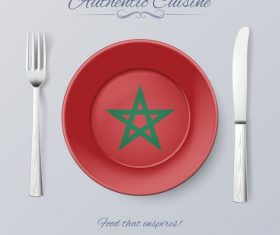 Morocco authentic cuisine and flag circ icon vector