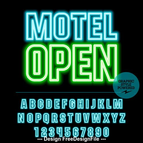 Motel open color alphabet vector